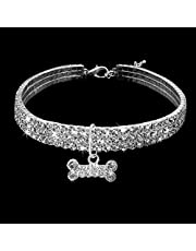 NAOAO Bling Cute Rhinestone Dog Collar Necklace Decoration Pendant for Pet Puppy Small Dogs Party Decor Pet Supplies
