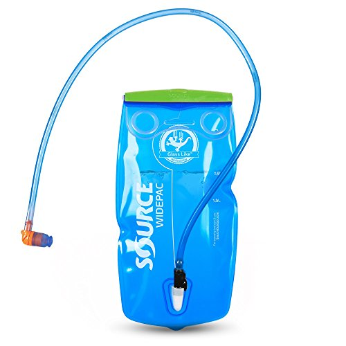Source Outdoor Widepac Hydration System Reservoir with Helix Bite Valve, 3-Liter, Transparent Blue