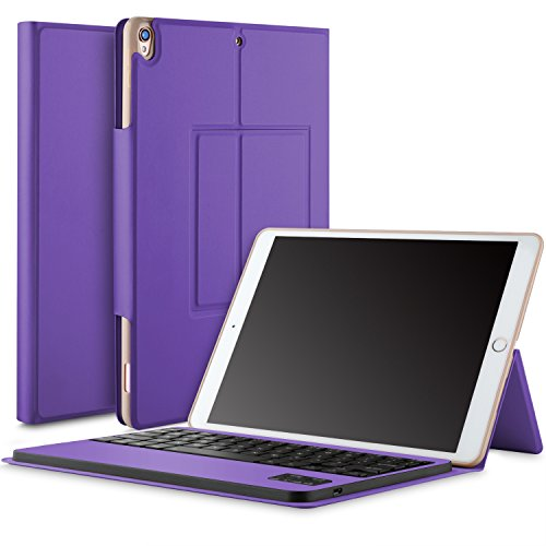IVSO Apple iPad Pro 10.5 Keyboard Case, Ultra-Thin DETACHABLE Wireless Keyboard Stand Case/Cover + Pencil holder for Apple iPad Pro 10.5-inch 2017 Version Tablet (Purple) by IVSO (Image #1)