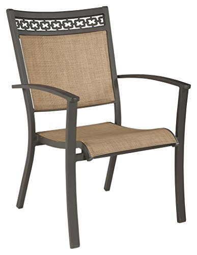 Signature Sling - Ashley Furniture Signature Design - Carmadelia Outdoor Sling Dining Chair - Set of 4 - Rust-Resistant Aluminum Frame - Tan & Brown