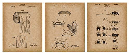 Patents - Bathroom Prints Art - Paper Roll 1891 Print - Old Antique Parchment Look - Toilet Paper Patent, Toothbrush Poster Dental, Toilet Seat & Cover - 3 Set - ()