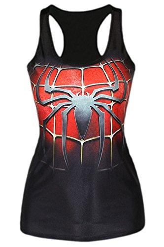 erdbeerloft - Damen Mädchen Sexy Tank Top Spiderman Print, S-L S-M, Mehrfarbig