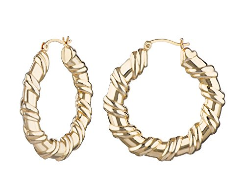 G&H Fashion Medium Gold Plated Twist Creole Click-Top Hoop Earrings