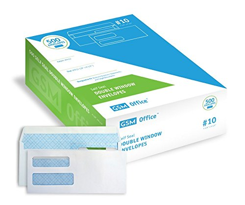 Self Seal Double Window Business Envelopes (#10 - Box of 500), Designed to Fit Invoices, Statements and Legal Documents (4 1/8