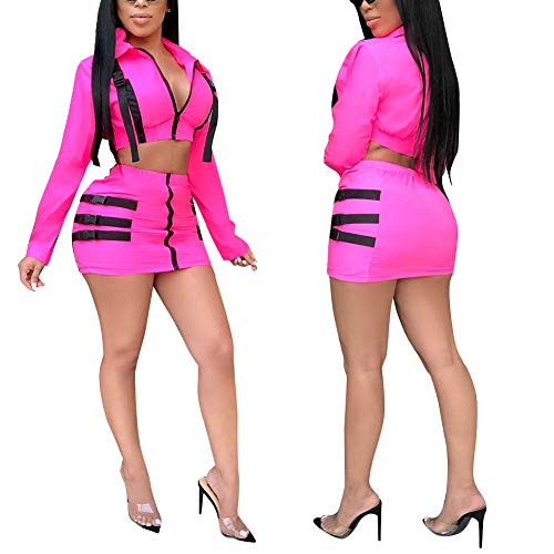 Club 2 Jacket (Womens Sexy 2 Piece Outfit Long Sleeve Crop Tops Jacket and Bodycon Skirt Suits Jumpsuit Party Clubwear RED XL)