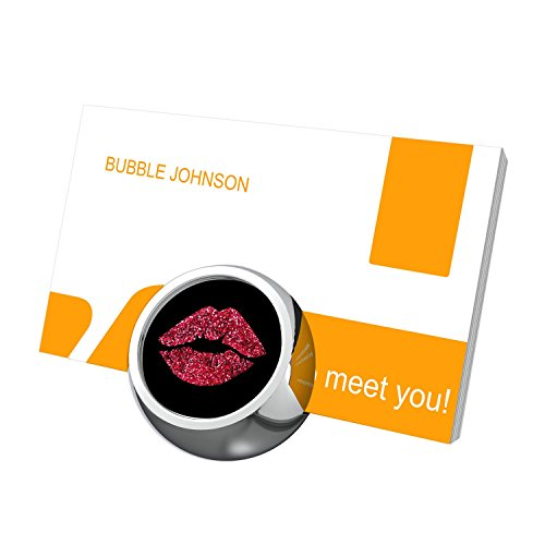Pink Lips Business Card Holders for Desk, Business Card Stand, Customized Stylish Office Business Card Display Metal ()