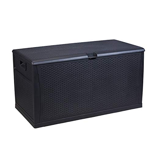 Storage Outdoor Wicker Box - Leisurelife Plastic Deck Box Wicker 120 Gallon, Black - Waterproof Storage Container Outdoor Patio Garden Furniture