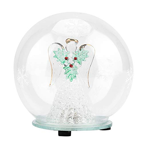 - Christmas Angel Glass Ball Crystal Glass Ball 7 Kinds LED Lamp Light Effect Light Up Globe with Angel, Tree Vine, Red Heart, Green Leaf for Home Office Decor Ideal Christmas Birthday Gift(#3)