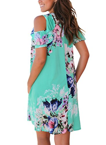 Manches Épaule Froid Des Femmes Sidefeel Court Imprimé Floral Mini-robe Verte