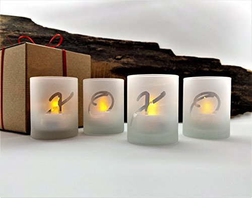 (XOXO Valentine Candle Holders Set Of 4 Frosted Glass With LED Flameless Tealight Candles and Gift Box Included)