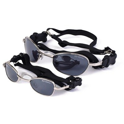 Doggles Large K9 Optix Sunglasses for Dogs, Silver Frame, Smoke Lens, My Pet Supplies