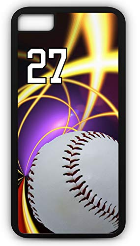 (iPhone 7 Case Baseball B055Z Choice of Any Personalized Name or Number Tough Phone Case by TYD Designs in Black Plastic and Black Rubber with Team Jersey Number 27)