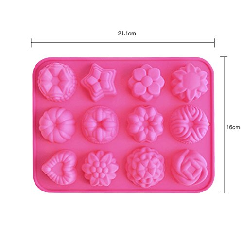 Silicone Muffin Cupcake Baking Pan Set(12 Mini Cup Sizes)Non Stick cake baking mold Dishwasher Safe Bakeware Tin Mold with 12 different flower shaped