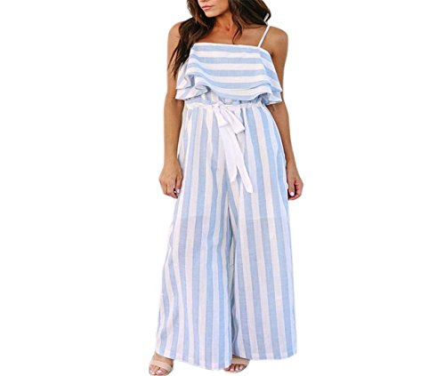 - ABASSKY Jumpsuit for Women, Sleeveless Striped Jumpsuit Casual Clubwear Wide Leg Pants Outfit (White, M)