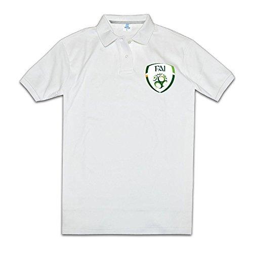 Men Holidays Ring Spun Cotton UEFA Euro 2016 Republic Of Irland Football Logo Polo Teeshirt Size XXL Color White (Euro Store Irland)