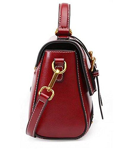 Wine Sac XinMaoYuan bandoulière sac style en Messenger Sac femme pour place petite Mobile Red rétro en à Femme cuir main cuir AxqwHxf