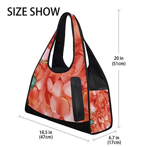 234c5d4e6d7c Gym Bag Rose Petals Women Yoga Canvas Duffel Bag Sports Tote Bags for Girls