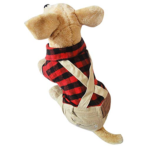 GAOCAN Cute Pet Dog Cats Apparel Costume Clothing Outfit Cotton Brushed Plaid Jumper Puppy British Style Bib Teddy Dog Printed Cloth Pants Fashion Pet Supplies (Size : XL)]()
