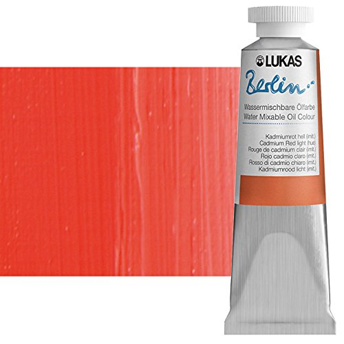 - Lukas Berlin Professional Quality Water Mixable Oil Color Paint Highly Pigmented Beeswax Oil Paint - Single 37 ml Tube - Cadmium Red Light Hue