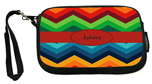 Rikki Knight Ashley Name on Fall Colors Chunky Chevron - Neoprene Clutch Wristlet Coin Purse with Safety Closure - Ideal case for Cosmetics Case, Camera Case, Cell Phones, Passport, - Clutch Ashley