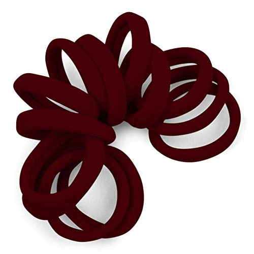 Soft and Stretchy Gentle Hold Seamless 1.5 Inch Elastic Nylon Fabric No-Metal Ponytail Holders - 12 Hair Ties (Burgundy)