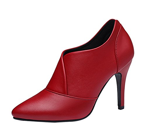 T&Mates Womens Sexy Elegant Slip-Ons Pointed Toe High Heel Pumps Ankle Booties Dress Shoes (5.5 (Red Solo Cup Costume For Sale)