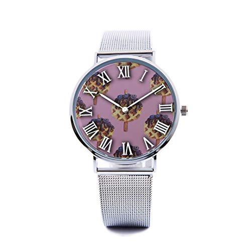 Unisex Fashion Watch Waffle Dessert Hand Drawn Food Print Dial Quartz Stainless Steel Wrist Watch with Steel Strap Watchband for Men Women 40mm Casual Watch