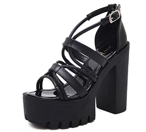 Donne Sandali spessi scarpe tacco alto impermeabile pattini di banchetto nero , black , 36