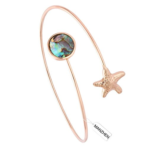 MANZHEN Easy Open Adjustable Starfish Abalone Shell Wrapped Memory Wire Bangle Bracelets Cuff Bangle (rose gold) Memory Wire Bangle