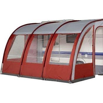 390 Burgundy Lightweight Caravan Porch Awning Plus Rear Pad Pole System