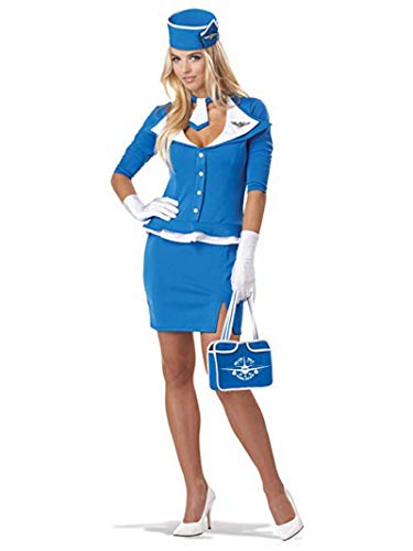 Un Disfraz Para Halloween Original (California Costumes Women's Retro Stewardess Adult, Blue,)