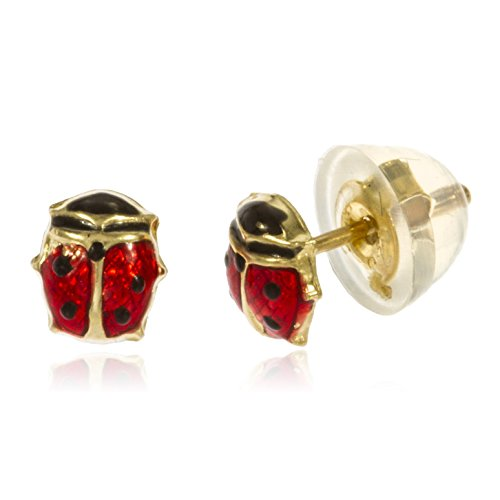 14k Yellow Gold Baby Lady Bug Stud Earrings with Silicone Back (GO-554) (Gold Yellow 14k Earring Ladybug)