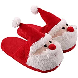 Unisex Christmas Santa Plush Slippers Memory Foam Non Slip Warm Soft Indoor Slippers