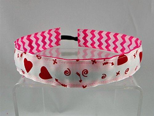 Pink Hearts Reversible (Valentine's Day Hearts Ribbon Stretch Reversible Sports Elastic Headband, Hearts & Arrows/Hot Pink Chevron)