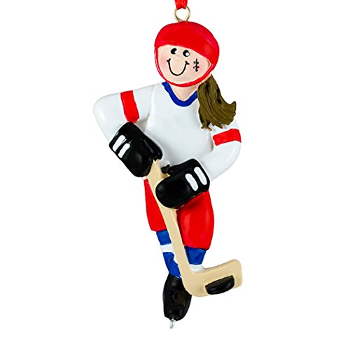 Personalized Ice Hockey Girl Christmas Tree Ornament 2019 - Brunette Athlete Red Jersey Helmet Stick Skate Hobby School Profession Winter Sport Brown Hair Year - Free Customization (Female) ()