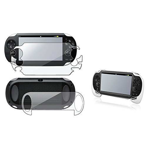 eForCity® White Hand Grip+Clear Full Body Screen Protector Guard Compatible With SonyPlayStation Vita PCH-1000 (PS Vita) by eForCity