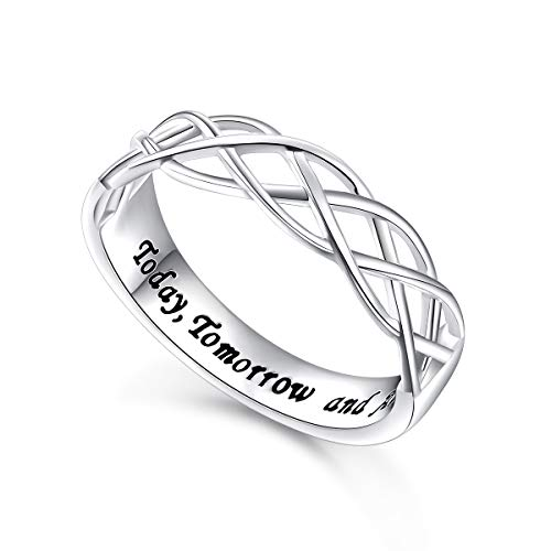 (Flyow Wedding Ring Sterling Silver Engraved Today Tomorrow and Always Celtic Lover Engagement Ring, Size 6-8 (8))