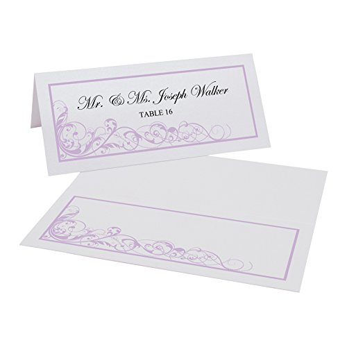 Scribble Vintage Swirl Easy Print Place Cards, Pearl White, Lavender, Set of 325 (82 Sheets) by Documents and Designs