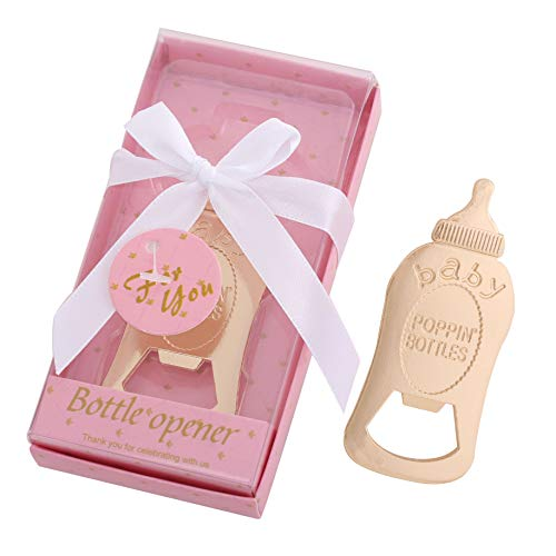 Yuokwer Pack of 12 Baby Shower Party Favor Bottle Opener Baby Shower Party Supplies Decoration Return Gift for Guest Wedding Party Souvenir for Birthday Bridal Shower (New POPPIN BOTTLES Pink, -
