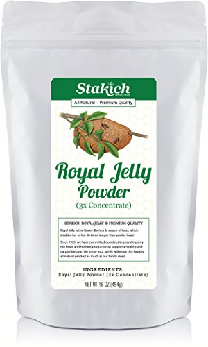 Stakich Fresh Royal Jelly Powder 1 Pound - 3X Concentrate - Freeze Dried, Pure, Natural