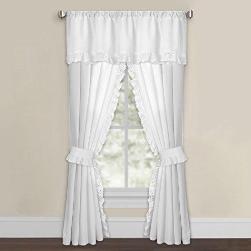 Eyelet White Curtains - Levinsohn Textile White Microfiber Eyelet Curtain Panel Pair 42 x 63 63 Inches