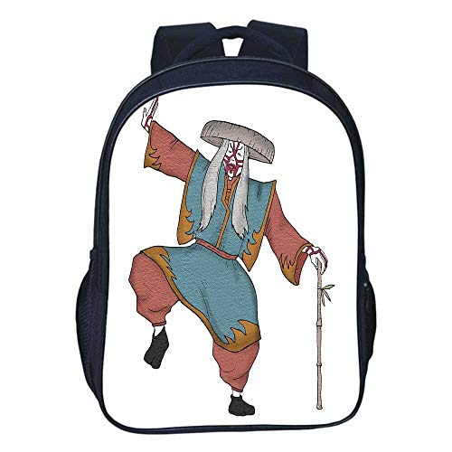 Kabuki Mask Decoration Durable Double black backpack,Cultural Asian Character Posing Traditional Hat Makeup and Costume Decorative For classroom,11.8