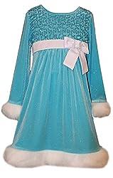 Girls Sequin Bodice Santa Dress