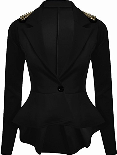 Studded Ruffle (NEW WOMENS LADIES PEPLUM RUFFLE SPIKE STUDDED TAILORED BLAZER JACKET TOP SIZE 8 - 16-BLACK-UK 14 (95% Polyester, 5%)