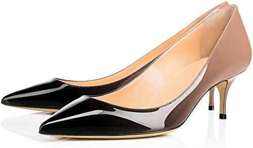 6 Chaussure Aiguille Hauteur Beigenoir Femme Bureau Cm 5 Escarpins Moyen Edefs Talon wTqSapAg