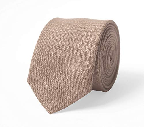 Mocha taupe color mens wedding necktie for groomsmen made from eco-friendly linen available with matching pocket square/light brown skinny necktie/boys and kids bow ties/toddler bow tie