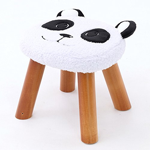 White Small Solid Wood shoes Bench Creative Sofa Stool Fabric Stool Home Stool Heightening Stool Cute Cartoon Stool Flannel Stool 0522A (color   White, Size   S)