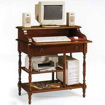 Computertisch holz  Schreibtisch Nußbaum und Tanganyika Holz cm 88x55, h 95 ...