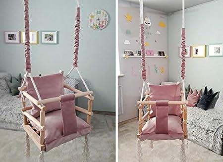 Balançoire pour Bébé Enfants Bois Tissu Siège 3 In1 Rose Gris 8336