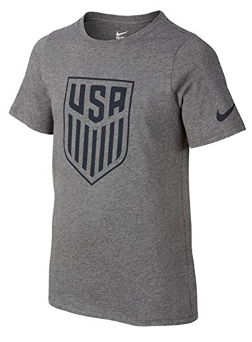 (Nike Kids' United States Crest Soccer T-Shirt (Large) Charcoal Heather )